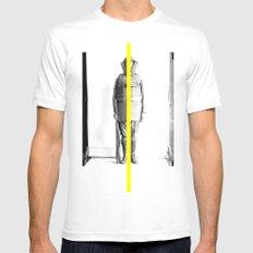 yellow line White Mens Fitted Tee MEDIUM