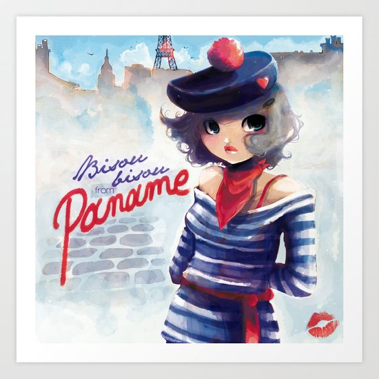 Bisou bisou from Paname Art Print