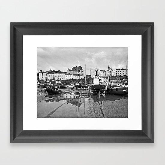 Tenby Harbour Boats.Pembrokeshire.B+W. Framed Art Print