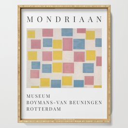 Piet Mondrian Exhibition Art Poster 1986 - Composition with color fields Serving Tray