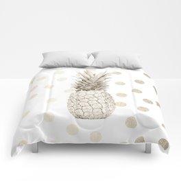 Gold Pineapple Polka Dots 1 Comforters