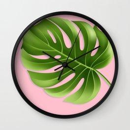Monstera Leaf Greenery Tropical Pink Aloha Modern Décor Wall Clock
