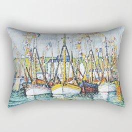"""Paul Signac """"Bénédiction des thoniers à Groix"""" Rectangular Pillow"""