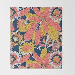 Limited Color Palette Bold Jungle Leaf Floral Throw Blanket