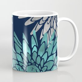 Floral Chrysanthemum Modern Navy Aqua Coffee Mug