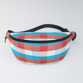 Tricolor Checkered Pattern Fanny Pack