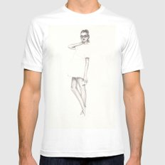 No.3 Fashion Illustration Series White Mens Fitted Tee MEDIUM