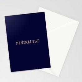 Dark Navy Blue and Copper Minimalist Typewriter Font Stationery Cards