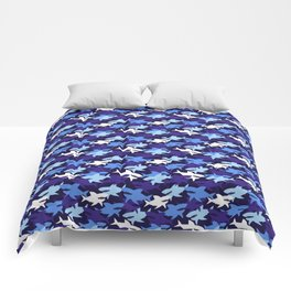Blue Sharks Camouflage Pattern Comforters