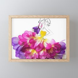 Happy Mother and Child In Flower Dress Framed Mini Art Print