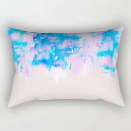 Girly Pastel Pink and Blue Watercolor Paint Drips Rectangular Pillow