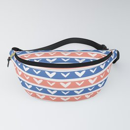 1950s Style Retro Love Heart Stripes Seamless Pattern Fanny Pack