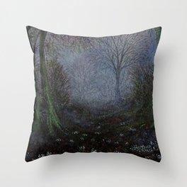 Misty Snowdrop Wood Throw Pillow