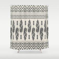 Tribal Feathers-Black & Cream Shower Curtain