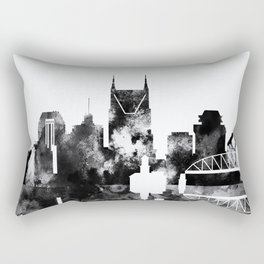 Black And White Nashville City Skyline Rectangular Pillow