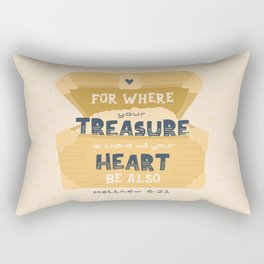 """""""Where Your Treasure Is"""" Hand-lettered Bible Verse Rectangular Pillow"""