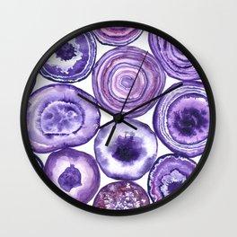Purple agate pattern watercolor Wall Clock