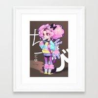 barachan Framed Art Prints featuring chibi by barachan