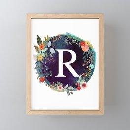 Personalized Monogram Initial Letter R Floral Wreath Artwork Framed Mini Art Print