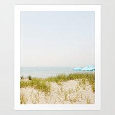 Blue Beach Umbrellas Art Print
