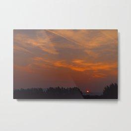 Red Rising Sun Metal Print
