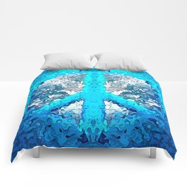 Abstract Blue Peace Sign Comforters