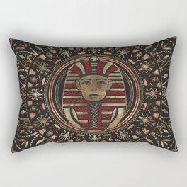 King Tutankhamun mask in circular ornament Rectangular Pillow