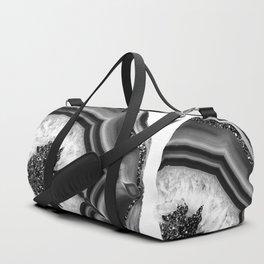 Gray Black White Agate with Black Silver Glitter #1 #gem #decor #art #society6 Sporttaschen