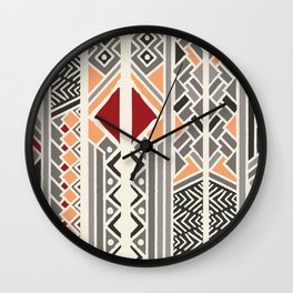 Tribal ethnic geometric pattern 034 Wall Clock
