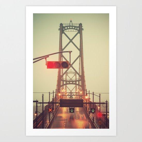 Red Light Bridge Art Print