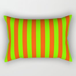 Super Bright Neon Orange and Green Vertical Beach Hut Stripes Rectangular Pillow
