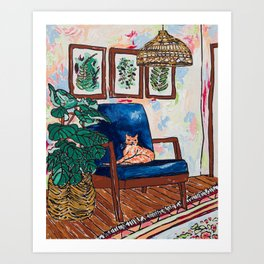Ginger Cat on Blue Mid Century Chair Painting Art Print