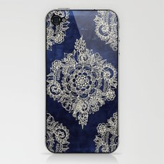Cream Floral Moroccan Pattern on Deep Indigo Ink iPhone & iPod Skin
