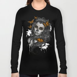 Sugar Skull Tattoo Girl with Butterflies Long Sleeve T-shirt