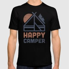 Happy Camper LARGE Black Mens Fitted Tee