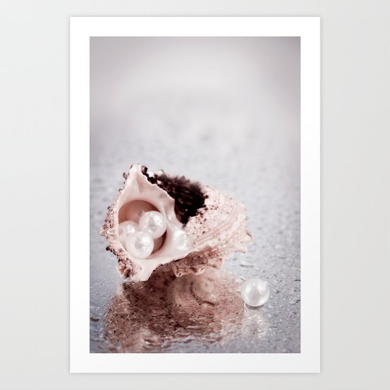 Elegant STILL LIFE with sea shell and pearls Art Print