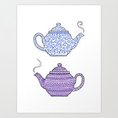 Patterned Teapots Art Print