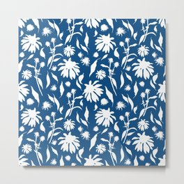 Elegant White on Classic Blue Echinacea Cone Flowers Floral Pattern Metal Print