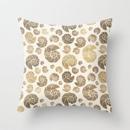 Sea shells pattern pastel gold Throw Pillow