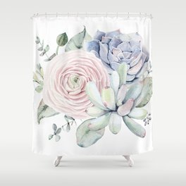 Succulent Blooms Shower Curtain
