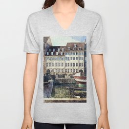 Copenhagen, Nyhavn harbor famous landmark and entertainment district Unisex V-Neck