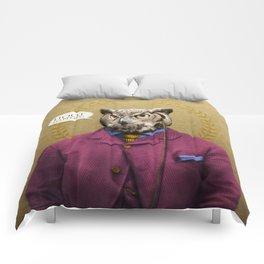 "Mr. Owl says: ""HOOT Happens!"" Comforters"