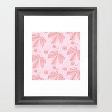 Horse Chestnut leaf and conker pale pink pattern Framed Art Print