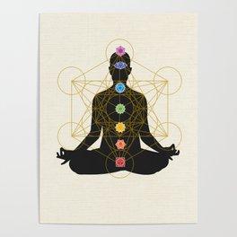 Chakra Meditation with Metatron's Cube Poster