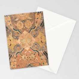Persian Motif III // 17th Century Ornate Rose Gold Silver Royal Blue Yellow Flowery Accent Rug Patte Stationery Cards