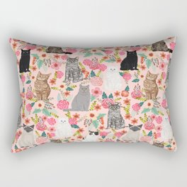 Cat floral mixed breeds of cats gifts for pet lovers cat ladies florals Rectangular Pillow