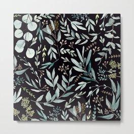 Black Eucalyptus Pattern Metal Print