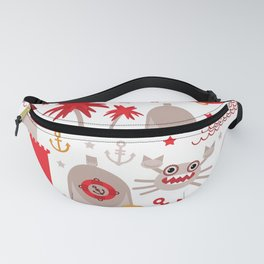 pattern with sea icons on white background. Seamless pattern. Red and gray Fanny Pack