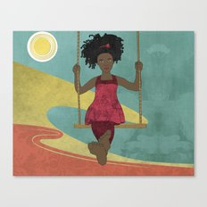 Barefoot Girl on Swing Canvas Print