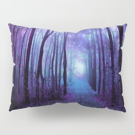Fantasy Forest Path Icy Violet Blue Pillow Sham